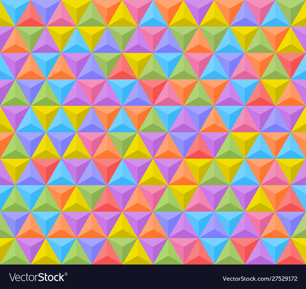 3d shadowed colorful triangles seamless pattern