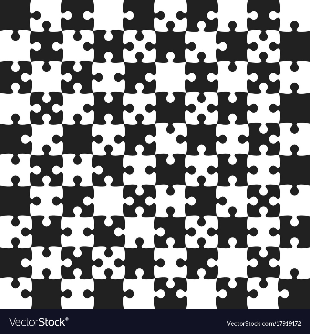Black puzzle pieces - jigsaw - field chess Vector Image