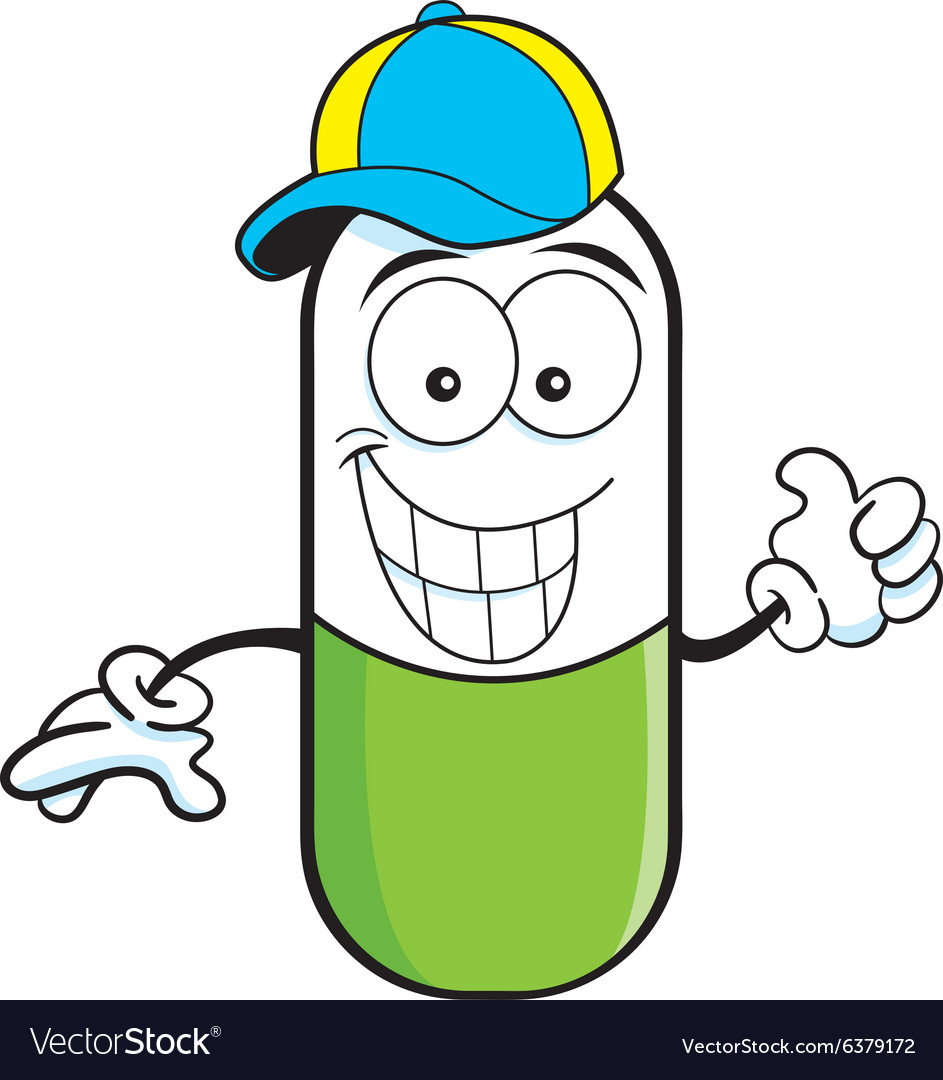 Cartoon pill capsule giving thumbs up