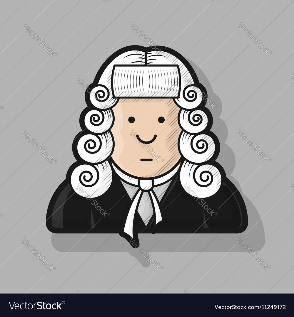 Contour icon judge in a wig and gown Royalty Free Vector