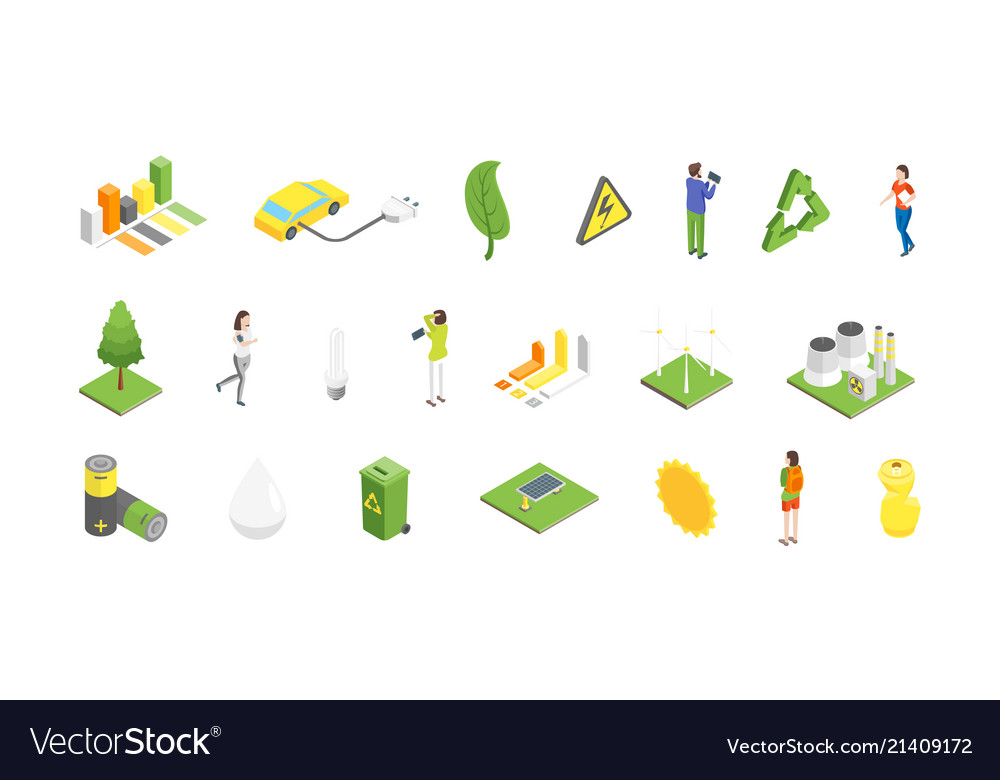 Ecology concept 3d isometric view