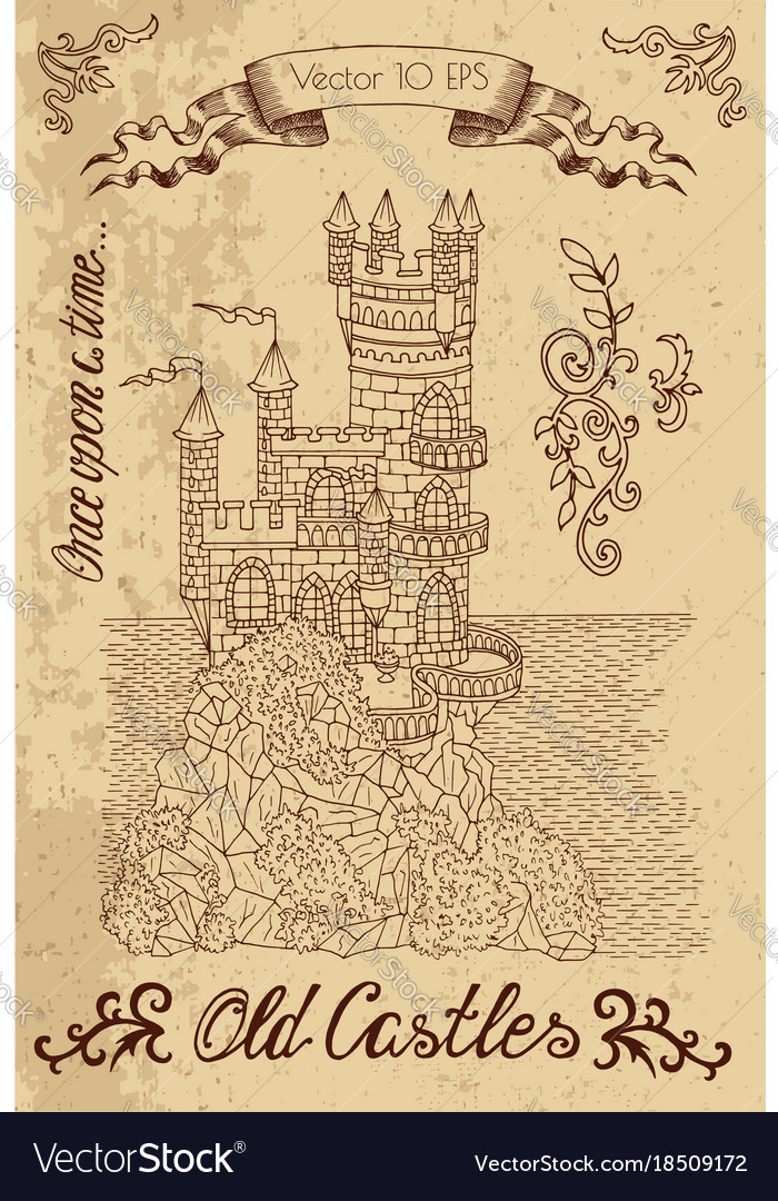 Graphic with old castle on textured background vector image