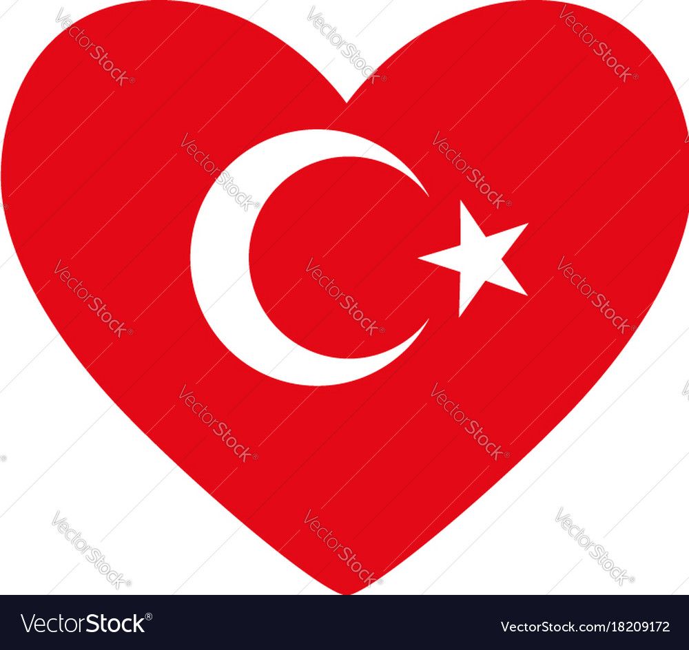 Heart In Colors And Symbols Of The Turkish Flag Vector Image