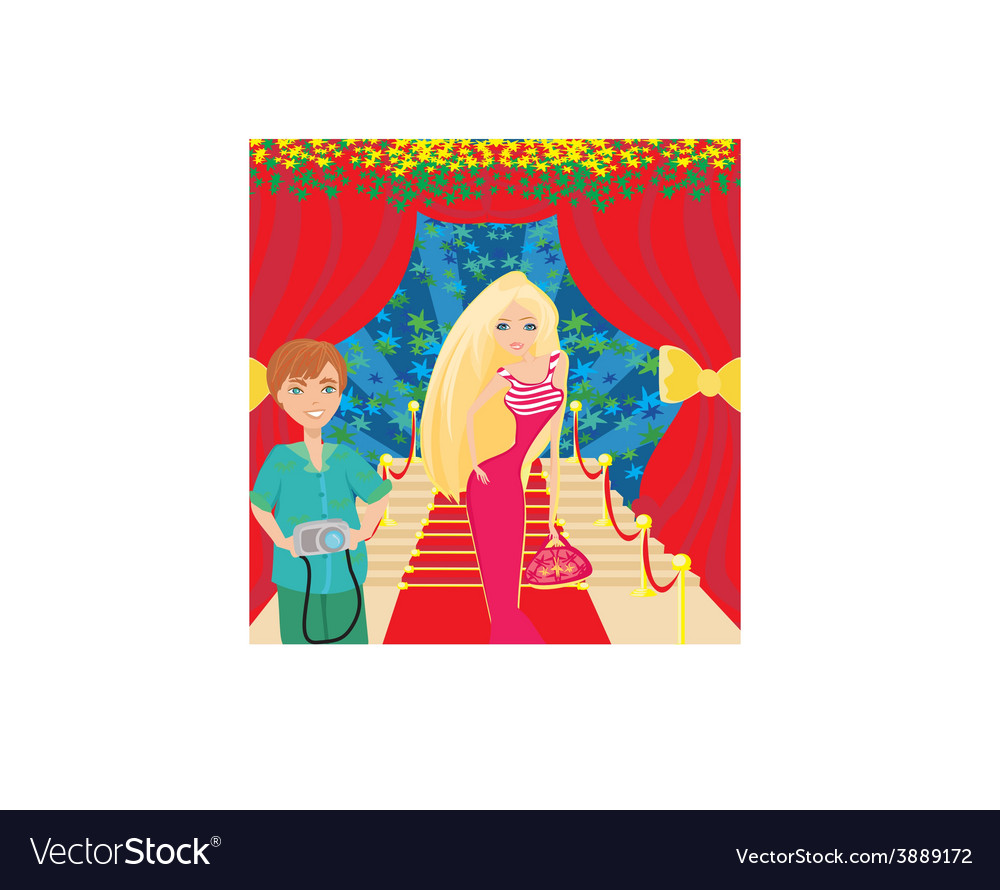 Movie star poses on the red carpet vector image