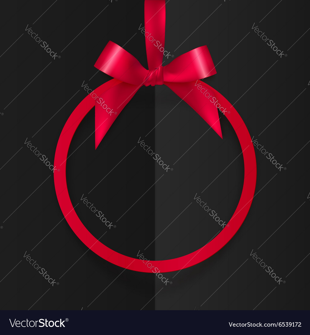 Red round frame with silky bow and ribbon at black