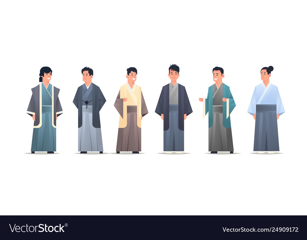 Set asian guys wearing traditional clothes smiling