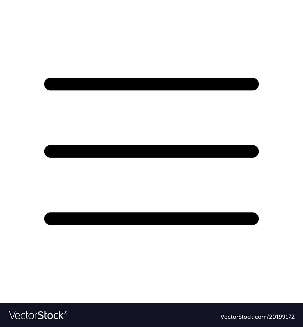 three bar line icon symbol of menu outline vector image