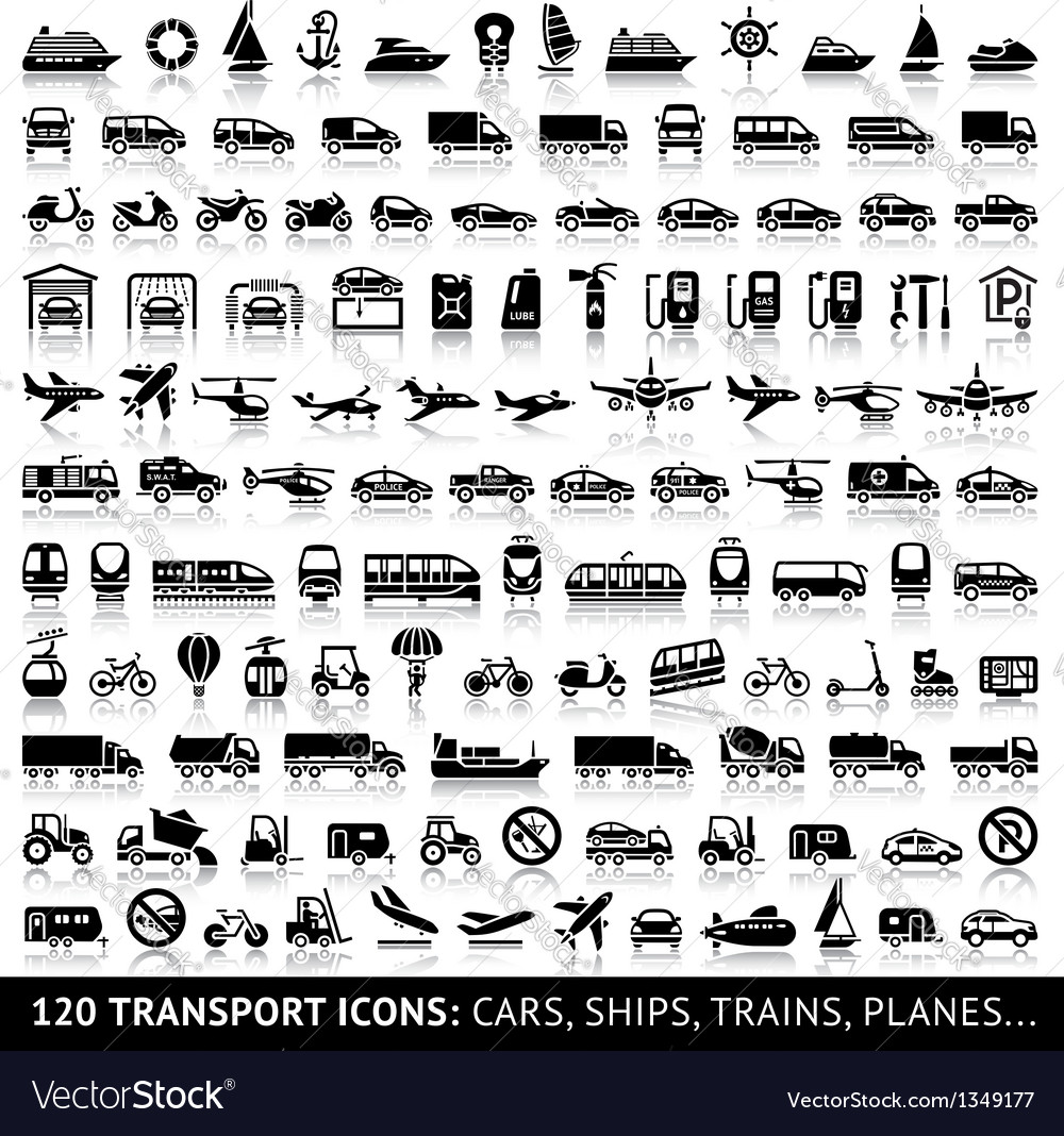 120 Transport icon with reflection vector image