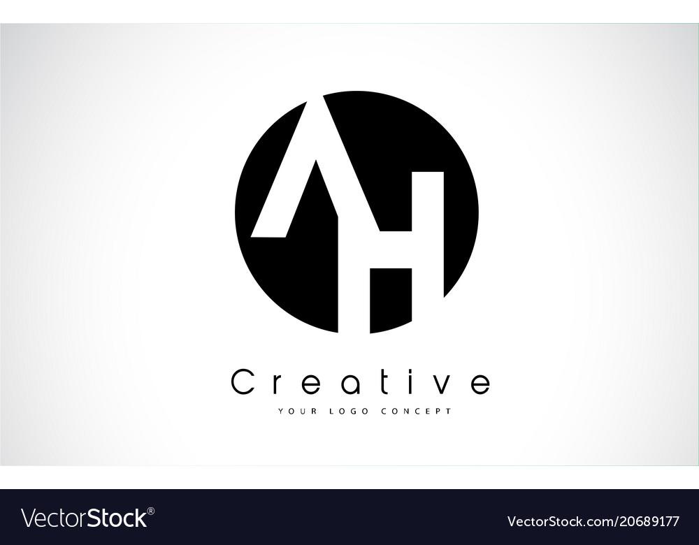 Ah letter logo design inside a black circle
