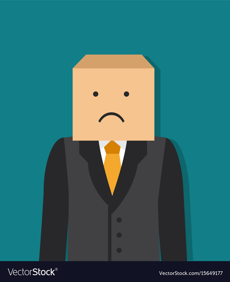 Businessman with a box on his head vector image