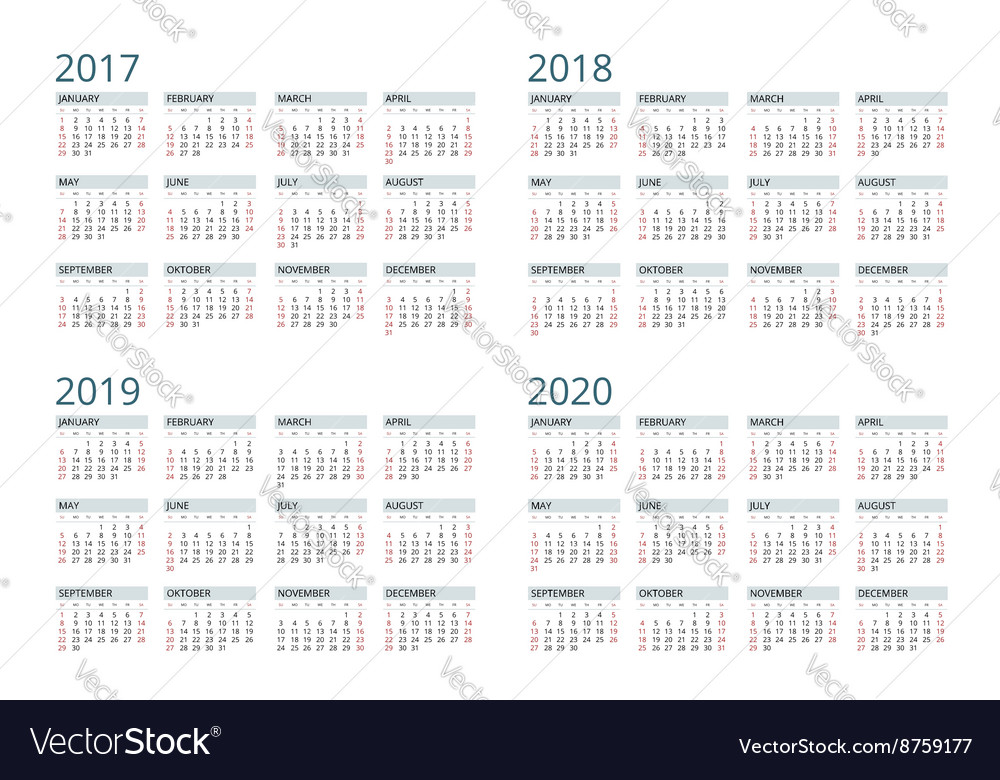 Calendar for 2017 2018 2019 2020 Week Starts vector image
