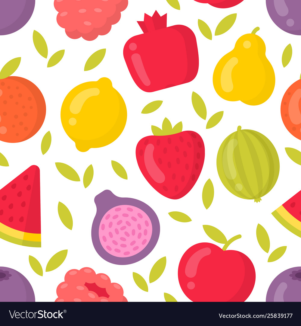 Cute fruits seamless pattern on white