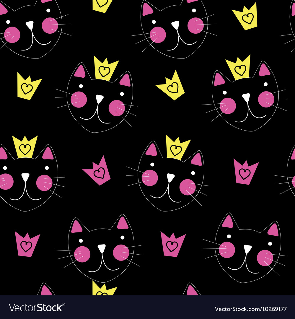 Cute Hand Drawn Cat with Crown Seamless Pattern