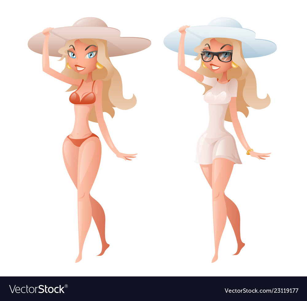 Cute happy girl character walk broad-brim hat
