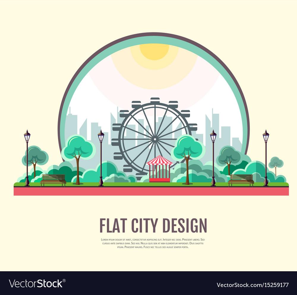 Flat style modern design of public park landscape
