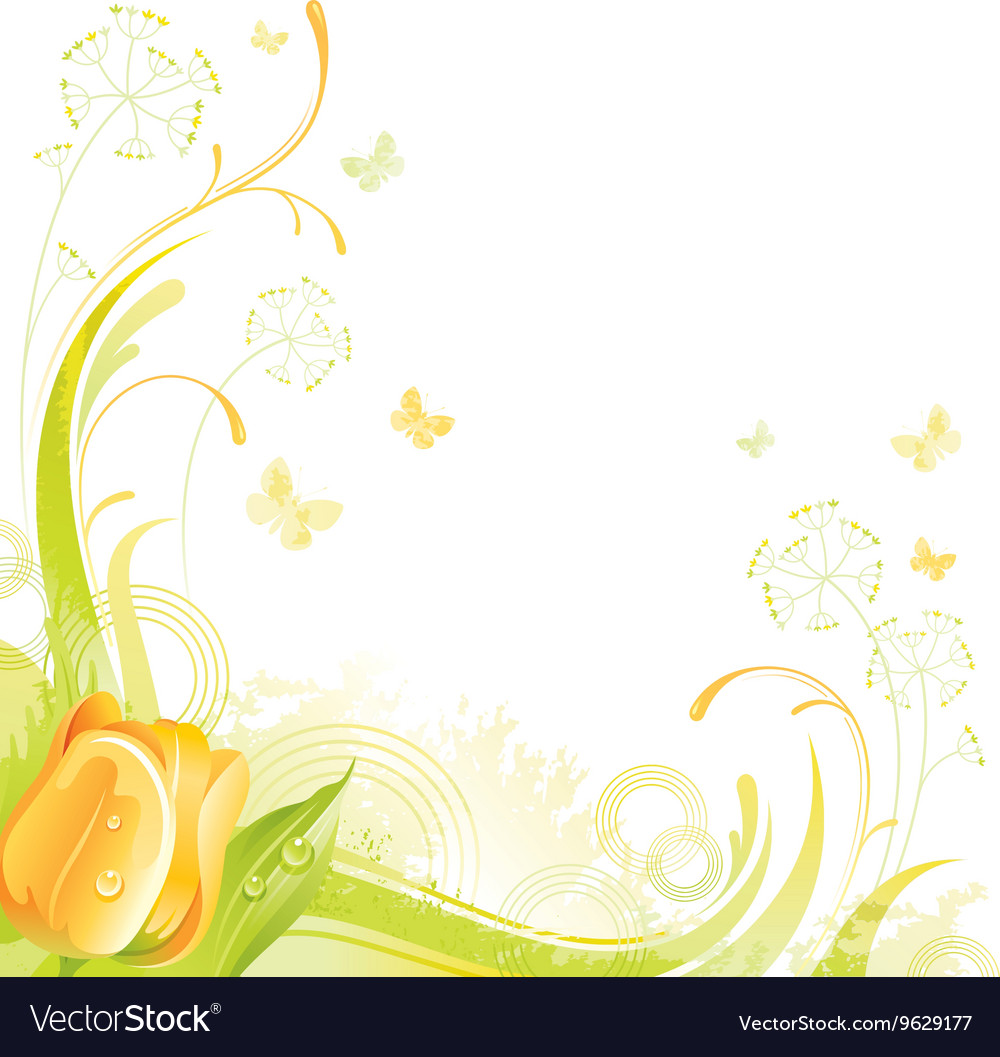 Floral summer background with yellow tulip flower