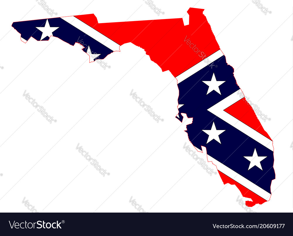 Florida map and confederate flag vector image