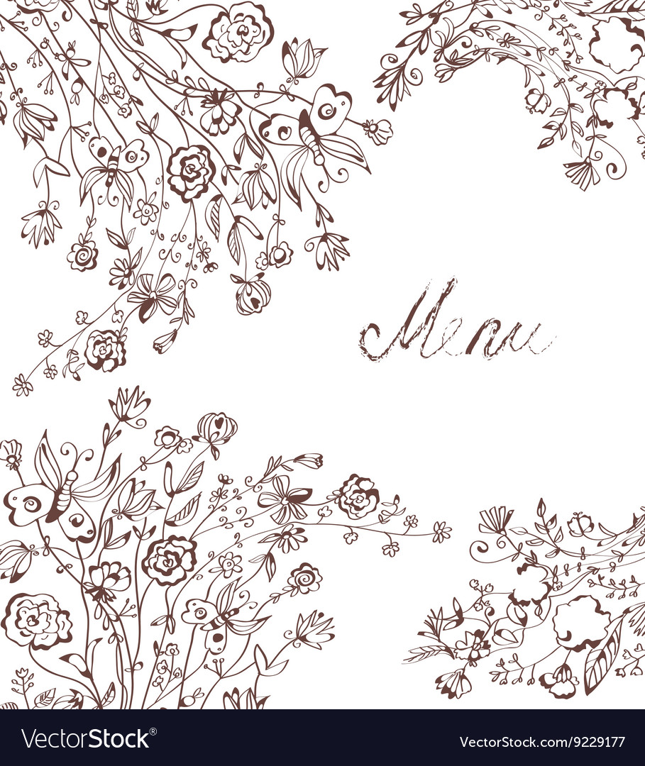 Graphic floral background for menu vector image