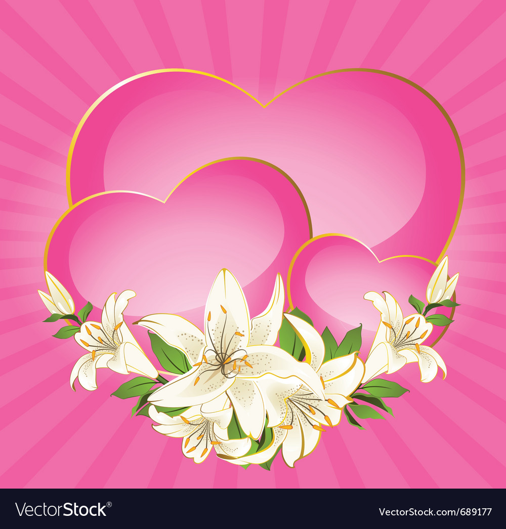 Hearts And Flowers Royalty Free Vector Image Vectorstock