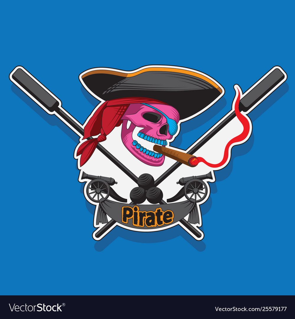 Pirates emblem template with cannons and pirate