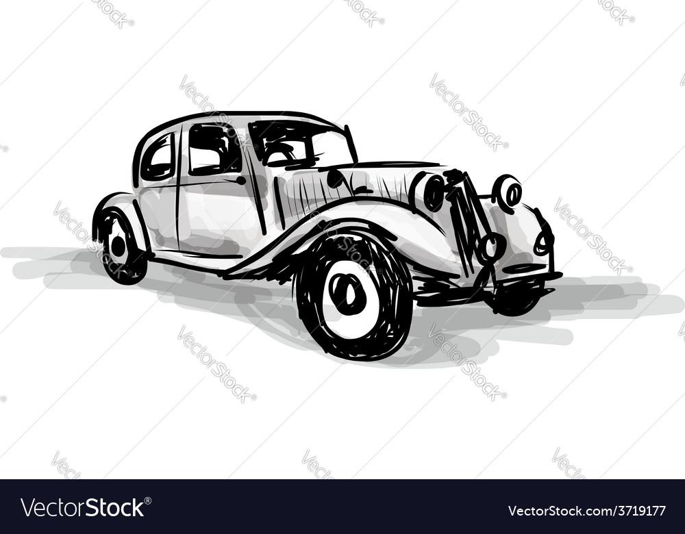 Retro car sketch for your design