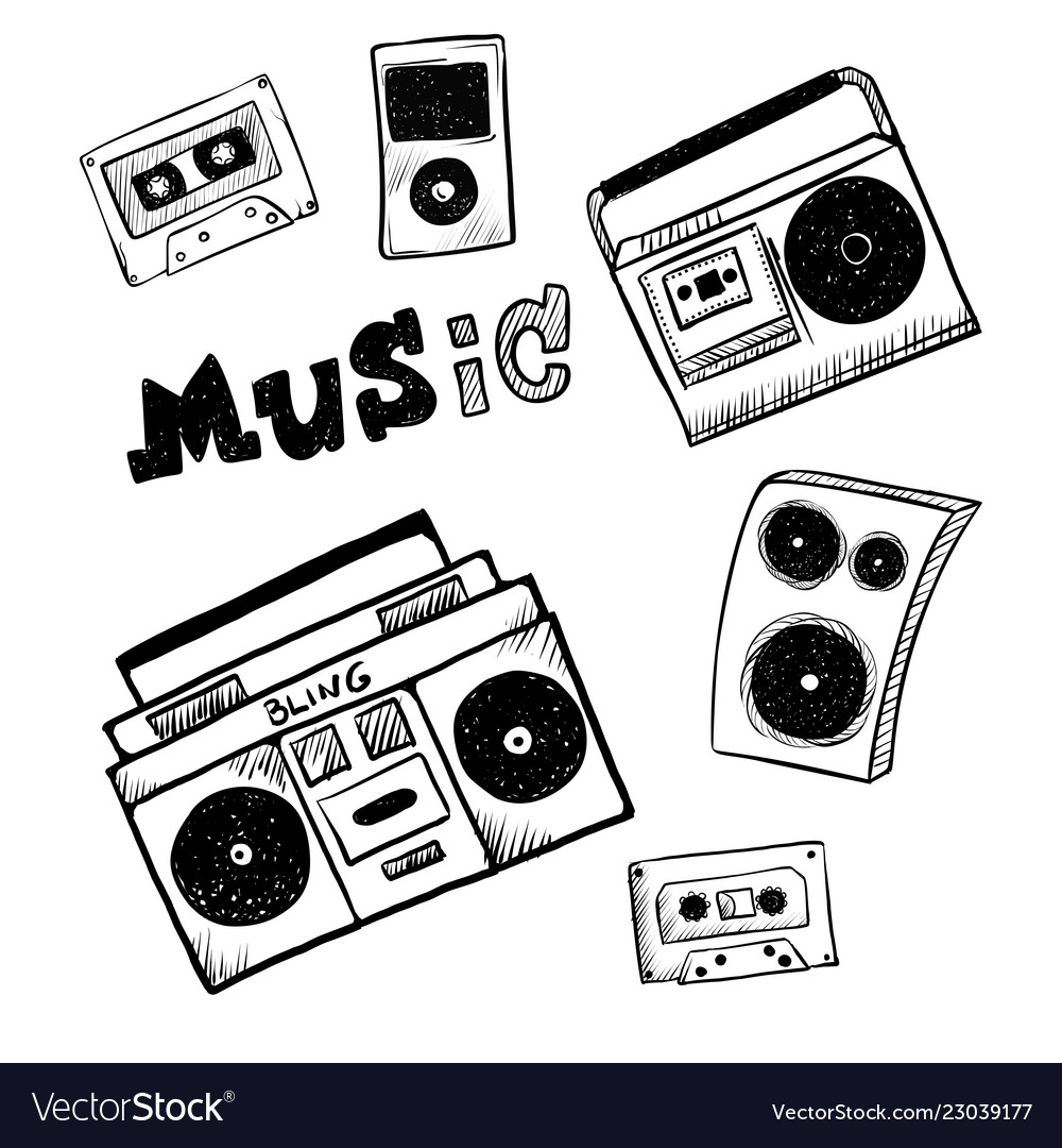 Retro music player icons musical attributes of