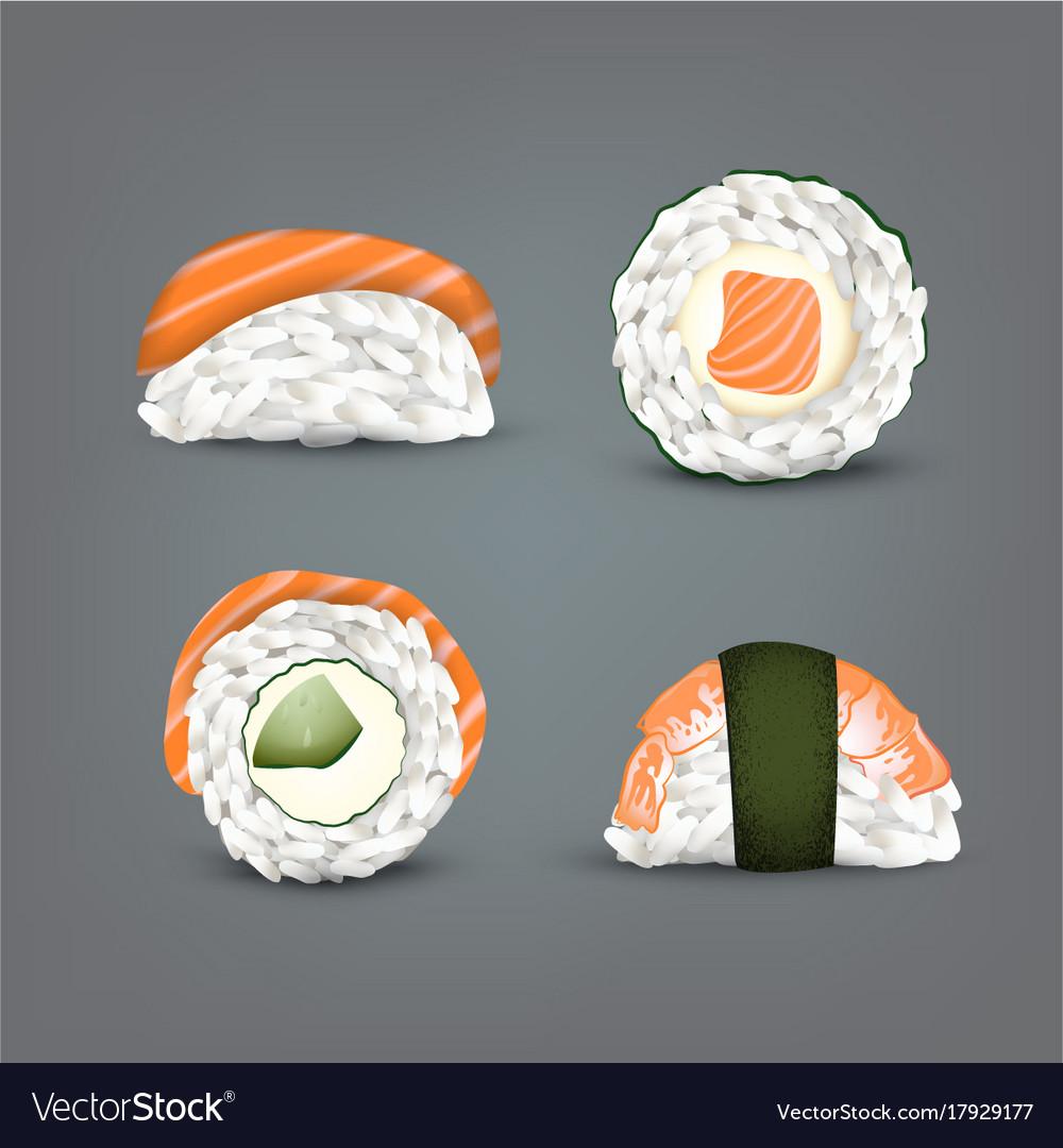 Sushi set realistic icon