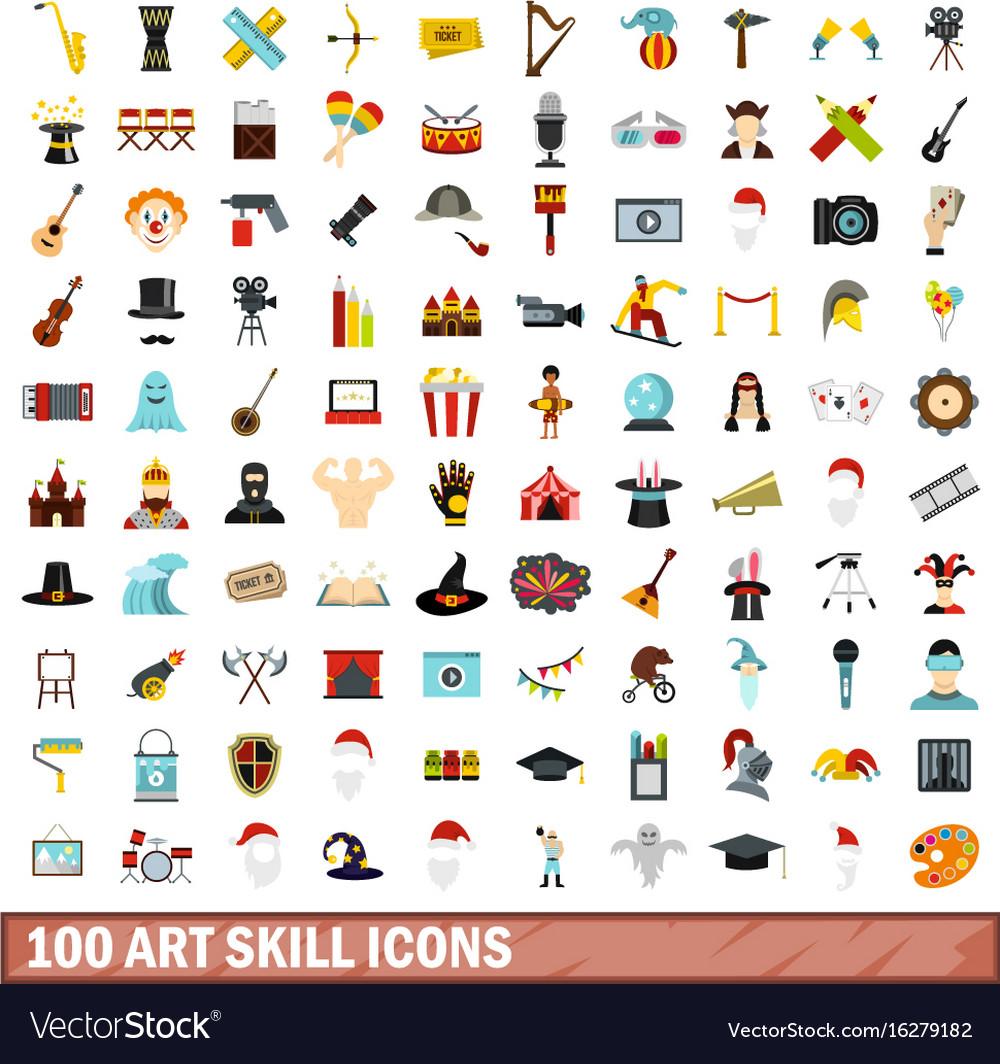 100 art skill icons set flat style vector image