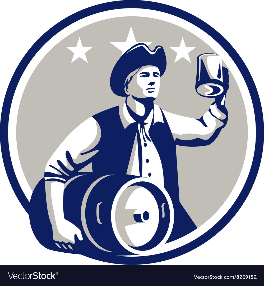 American Patriot Carry Beer Keg Circle Retro