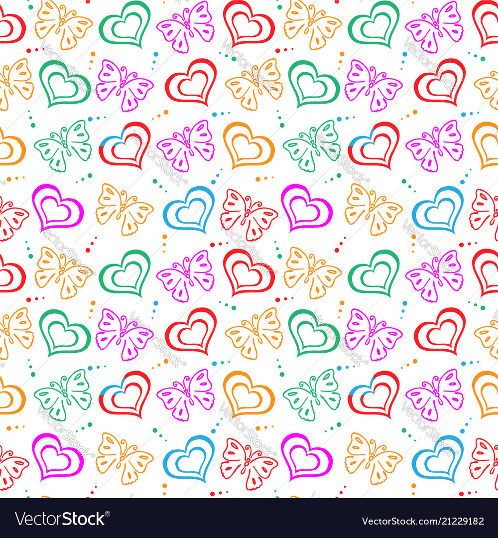 Butterfly love hand drawn pattern vector image