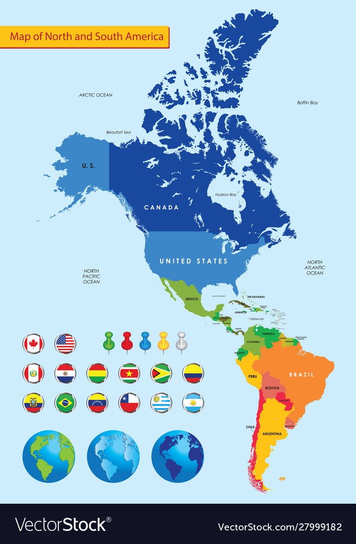 Color Political Map North And South America Vector Image