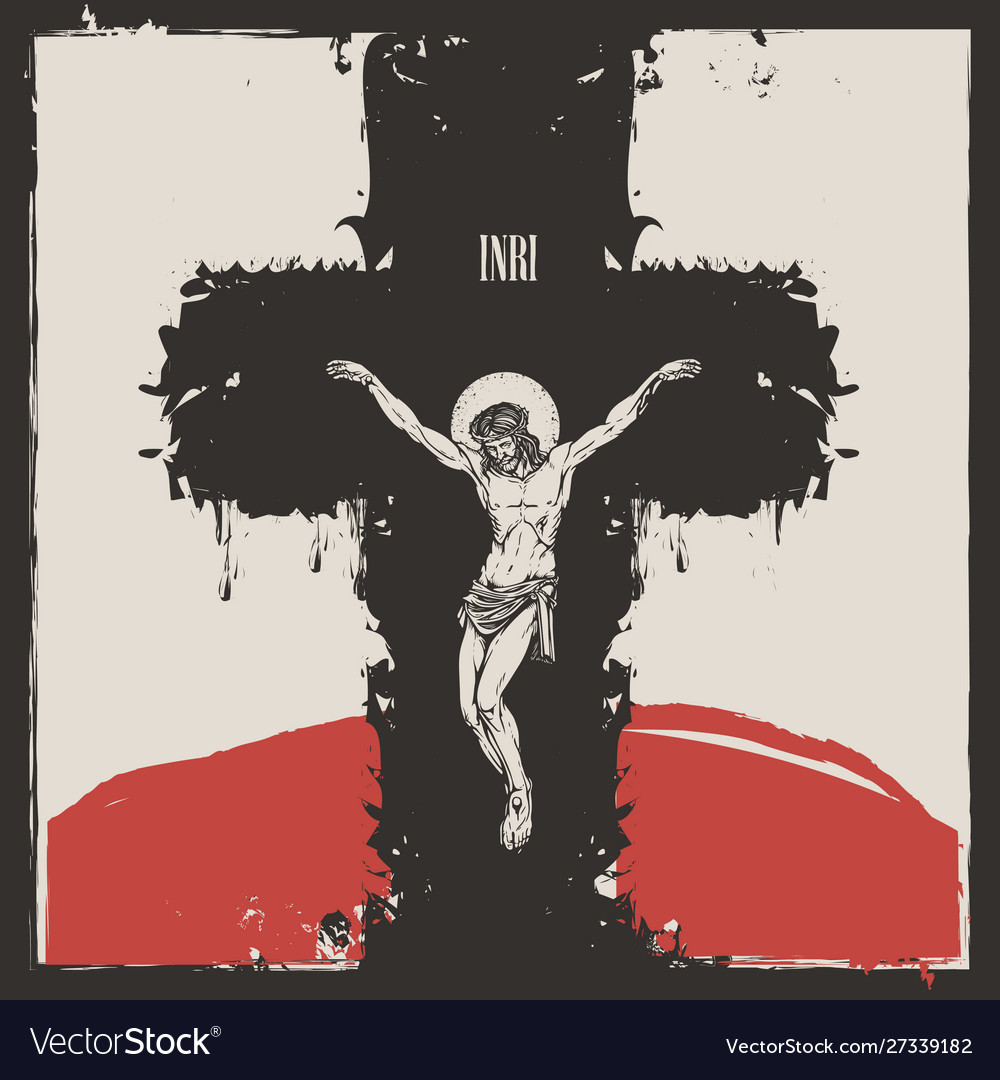 Crucified jesus christ on cross a religious