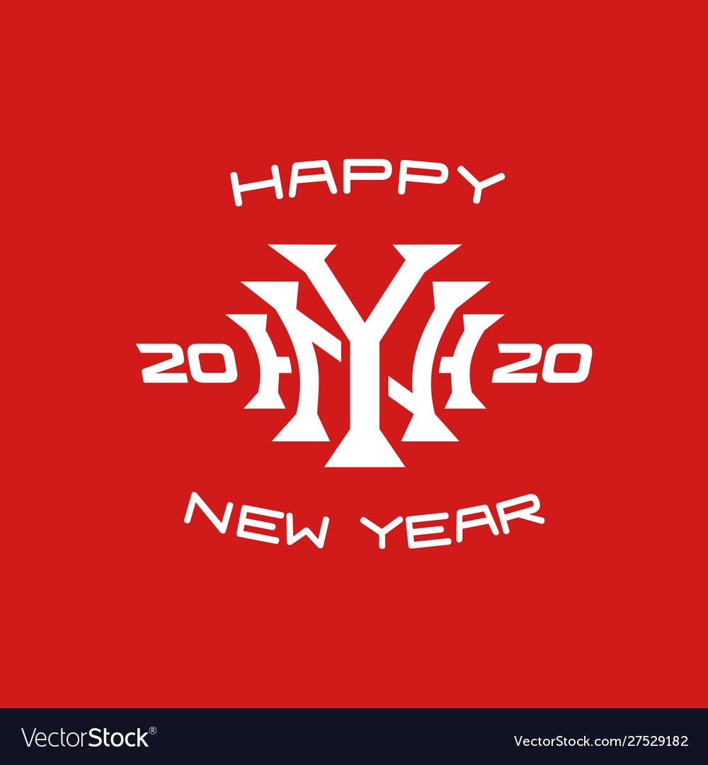 Happy new year 2020 letters monogram style logo