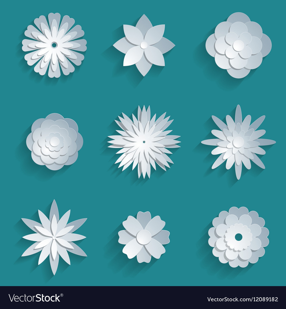 Paper Flowers Set 3d Origami Icons Royalty Free Vector Image