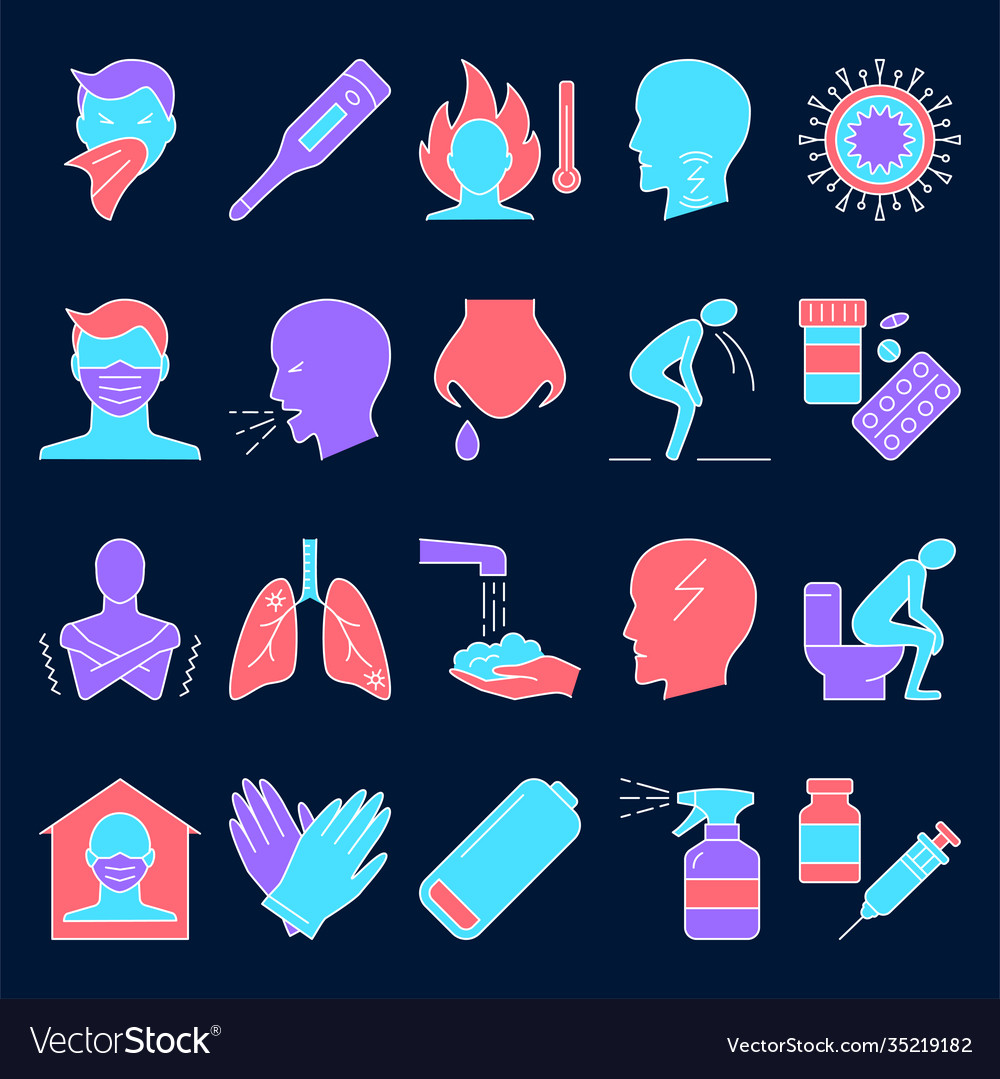 Respiratory disease icon set in line style