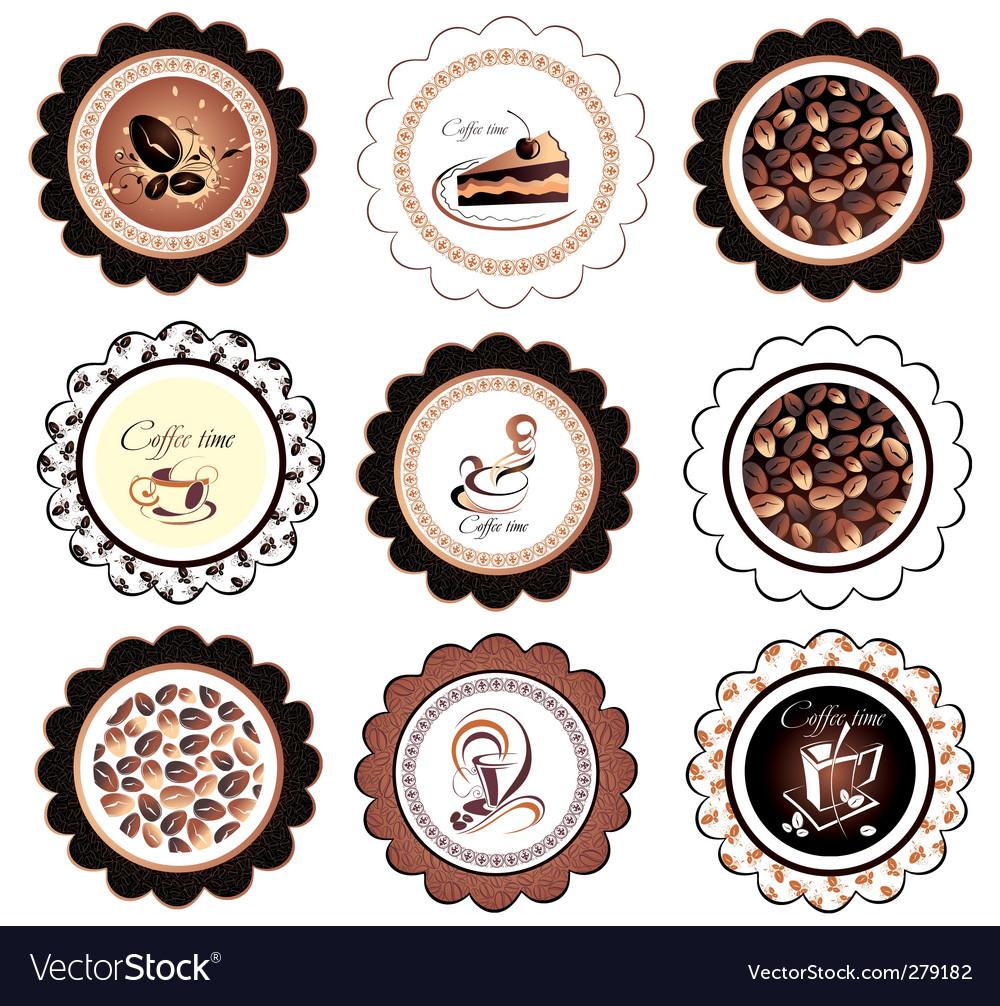 Set of coffee design elements