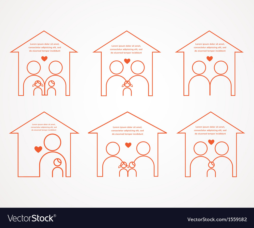 Set of family and house icons family love