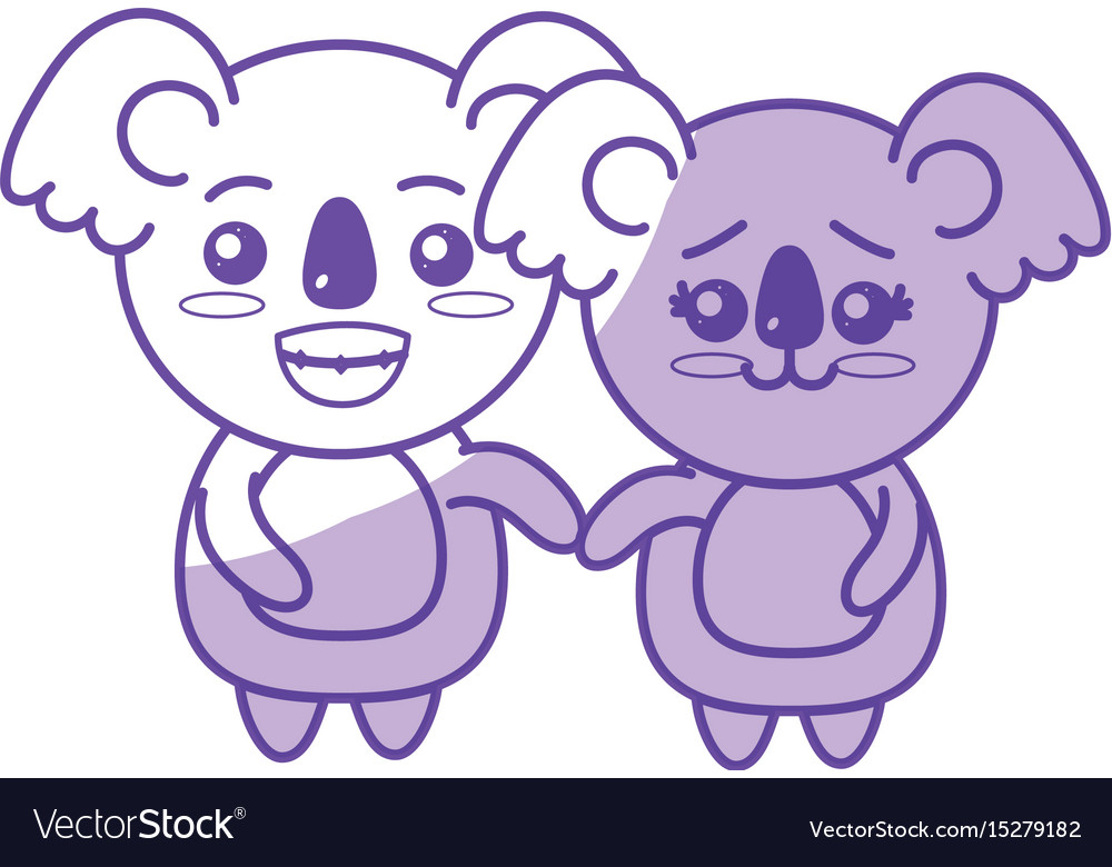 Silhouette cute couple koala wild animal with vector image