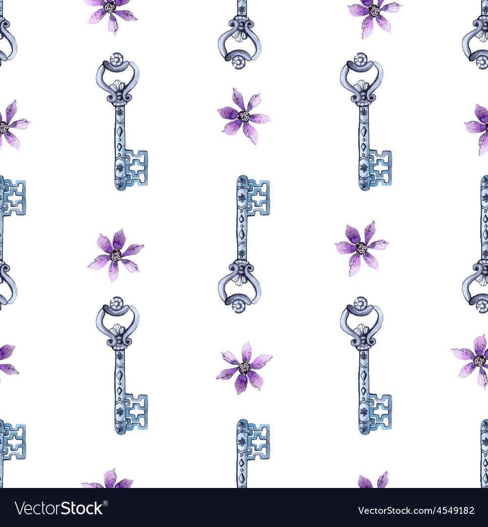 Watercolor flower and key pattern