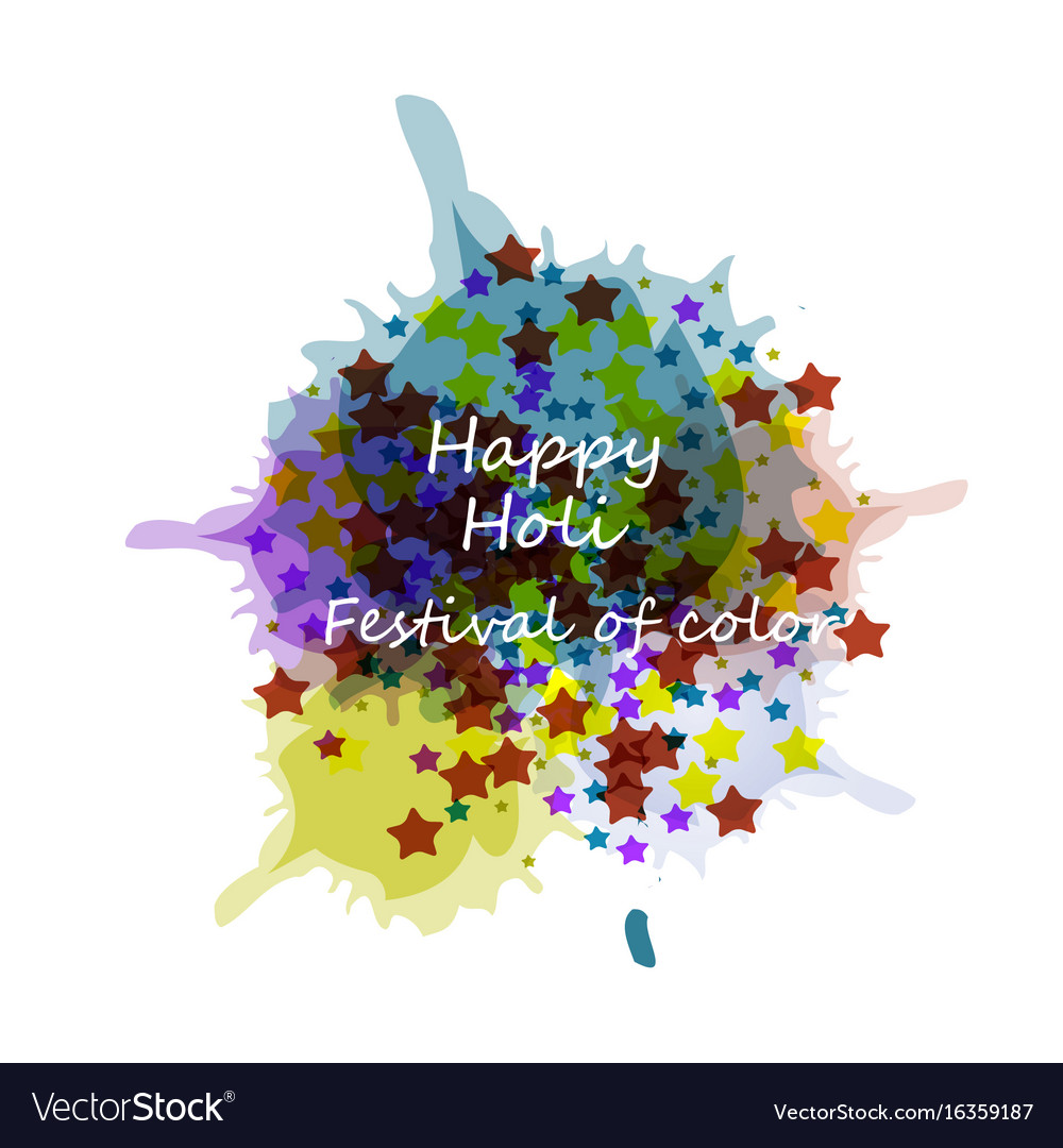 Beautiful card holi festival celebration colorful vector image