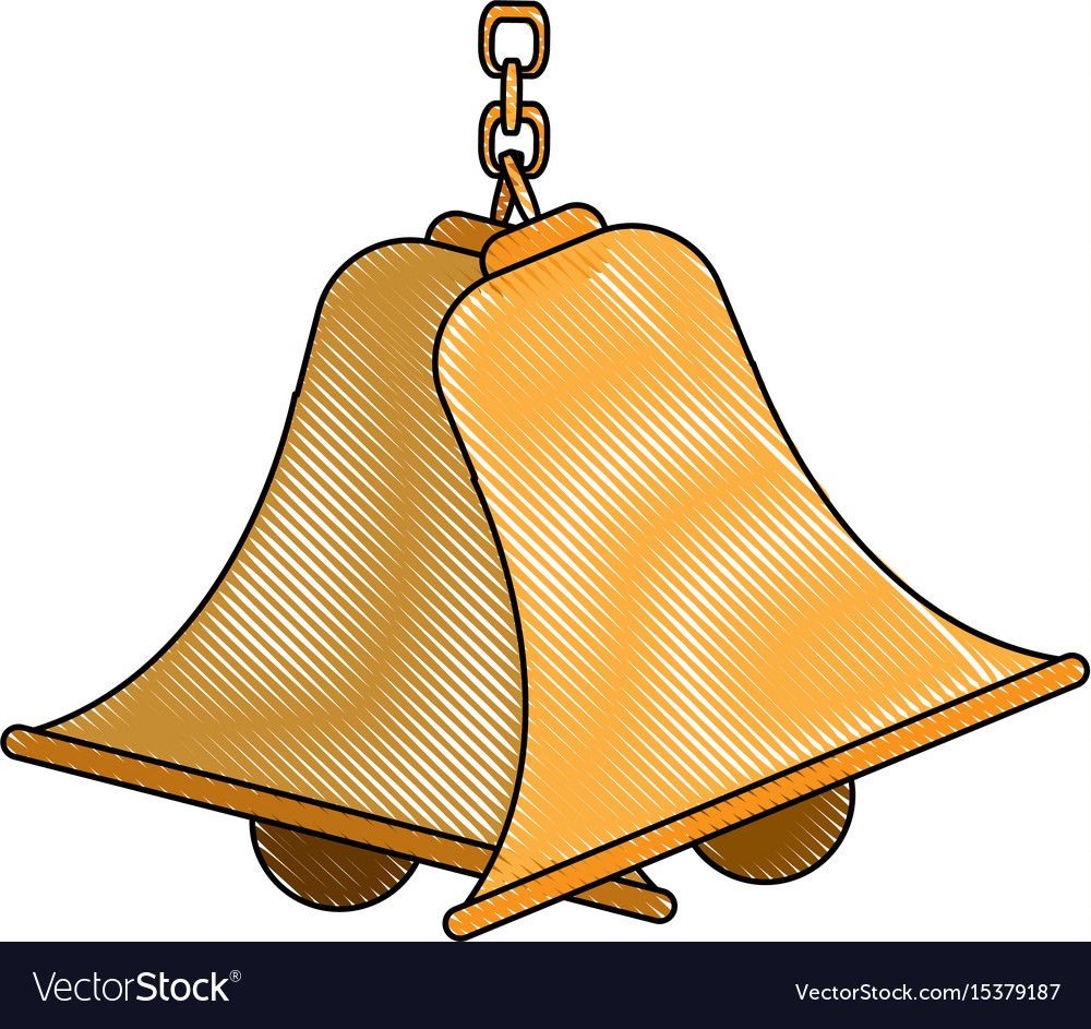 Bells hanging on chain instrument sound vector image on VectorStock