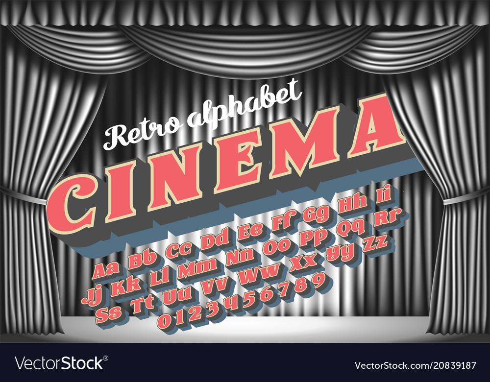 Cinema - retro neon monochrome alphabet