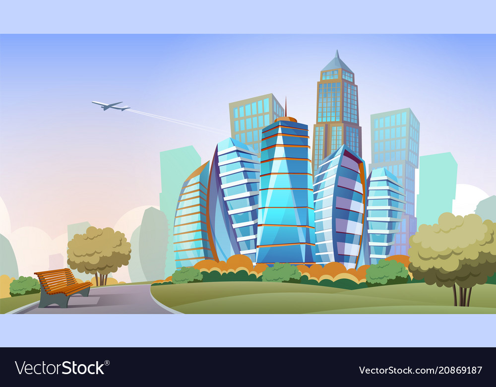 Cityscape cartoon background vector image