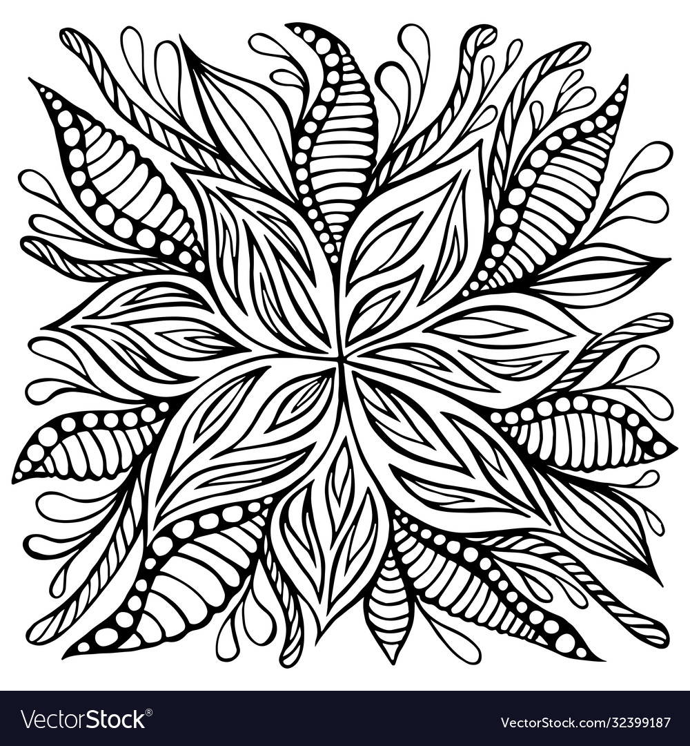 Fantasy Flower Doodle Style Coloring Page Vector Image