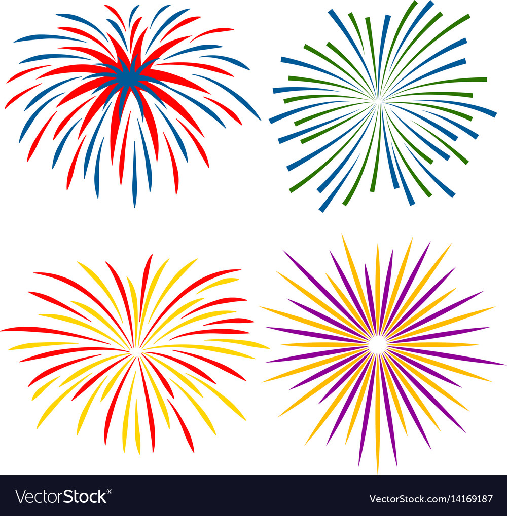 Fireworks of different kinds on white background