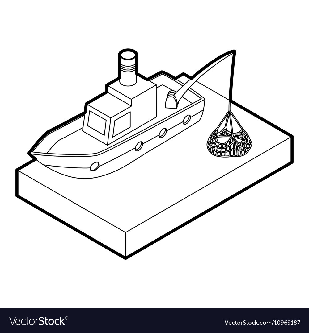 Fishing boat icon outline style