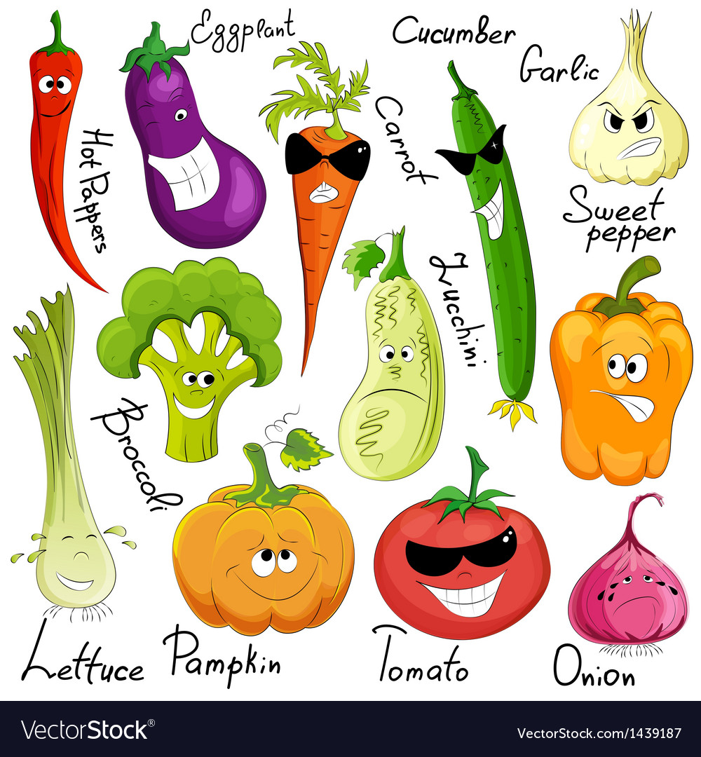 Funny vegetable cartoon isolated vector image