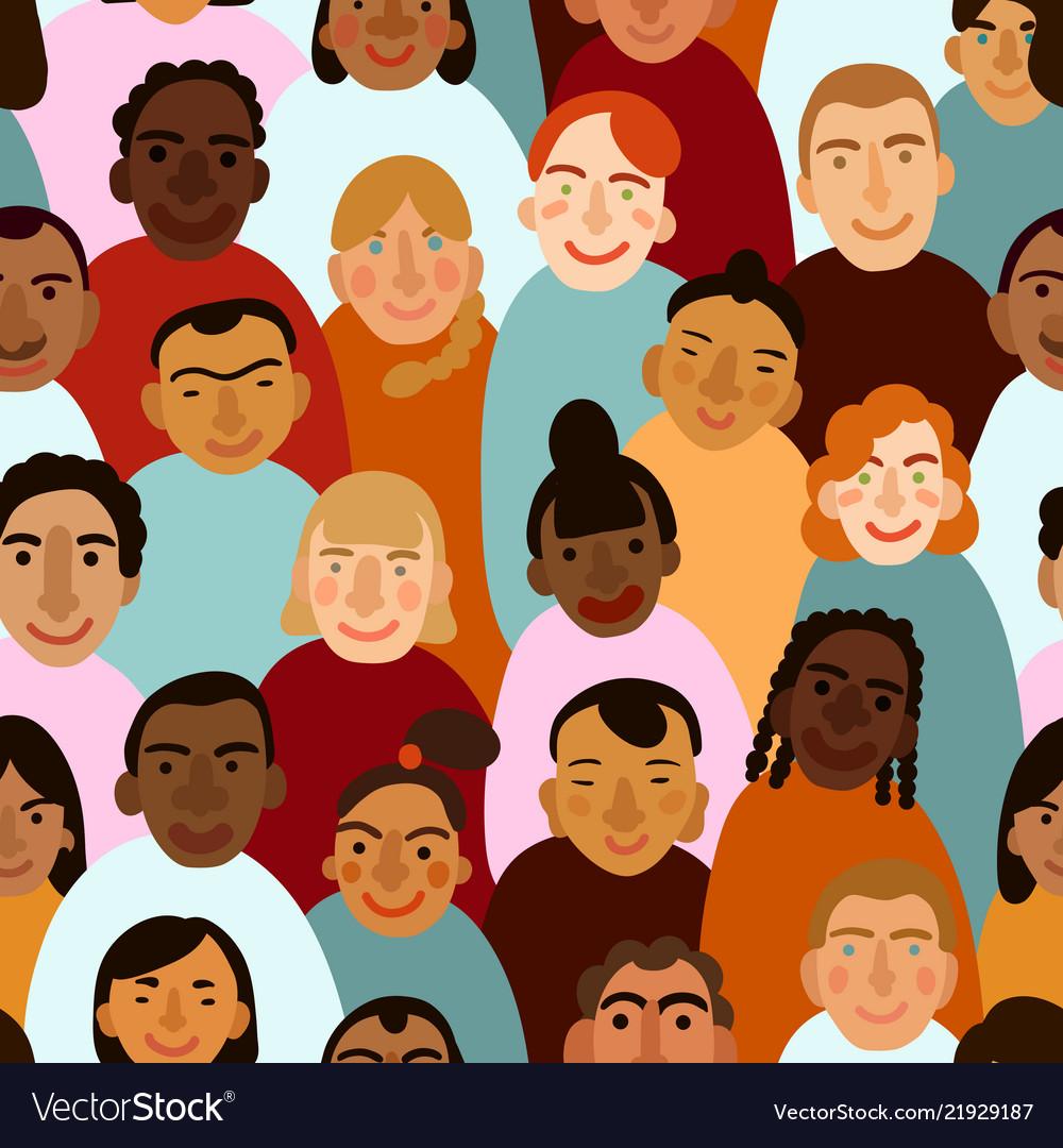 International human faces seamless pattern