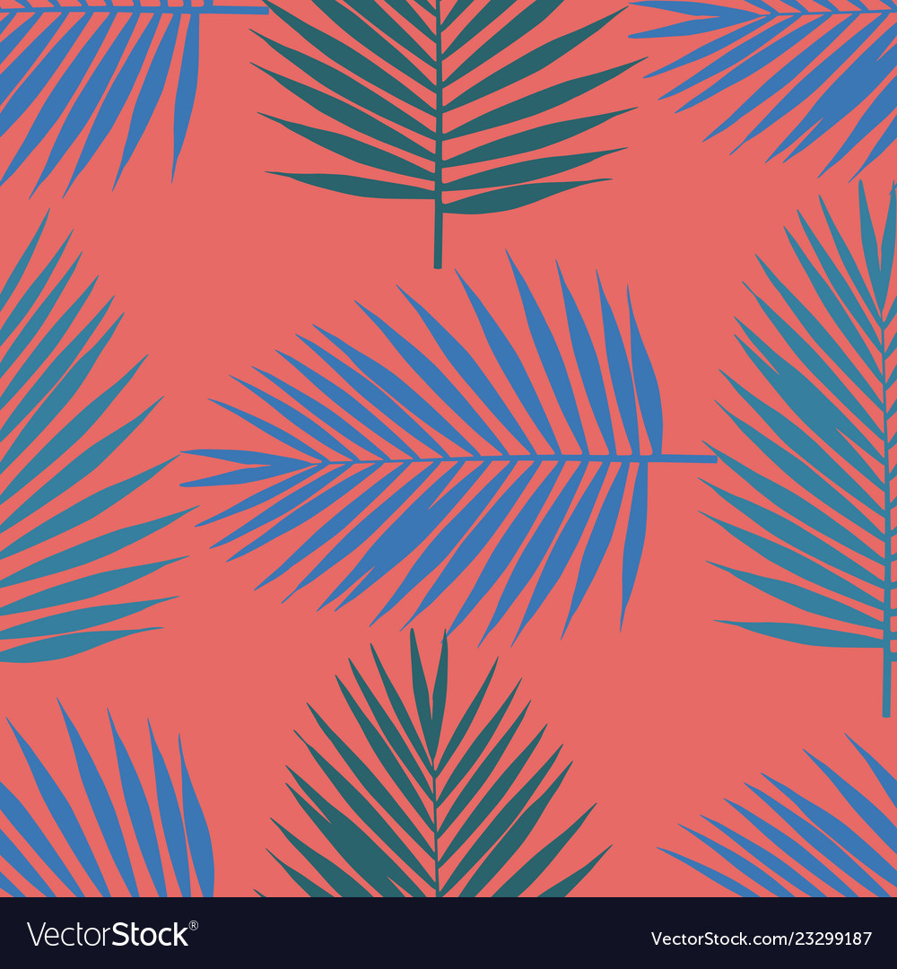 Living coral tropical palm leaves seamless