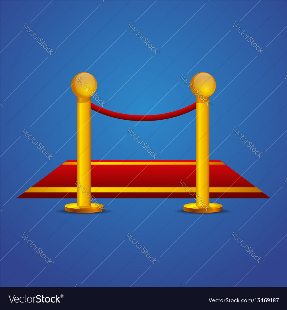 Red carpet and barrier rope vector image